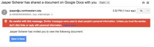 هجوم كبير بالرسائل الخبيثة على خدمة جيميل على شكل روابط من موقع غوغل دوكس