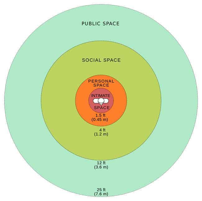 مخطط لأحد الدراسات يُظهر مساحات الخصوصية الشخصية المختلفة