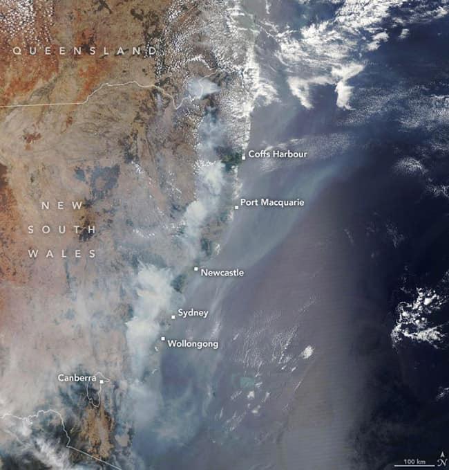 مناطق الحرائق في ولاية نيو ساوث ويلز في أستراليا