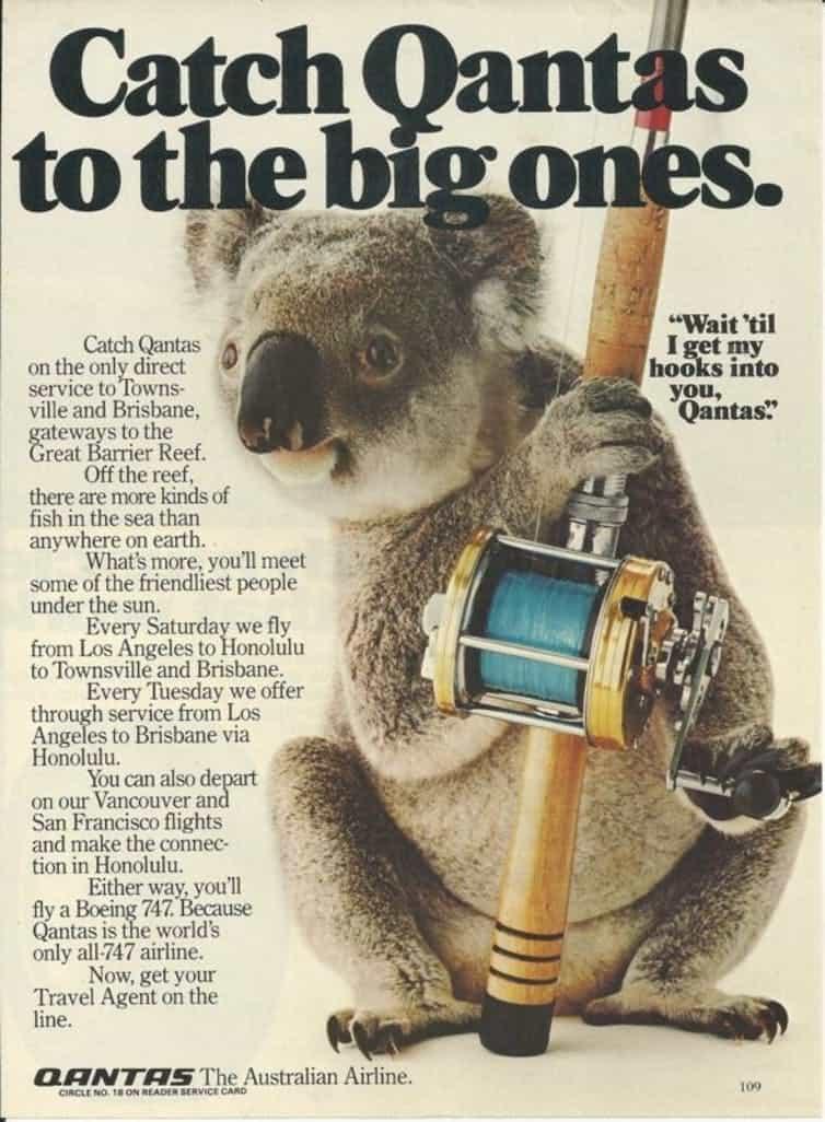 الكوالا, إعلان ترويجي لكانتاس عام 1981 في الصحف الأميركية