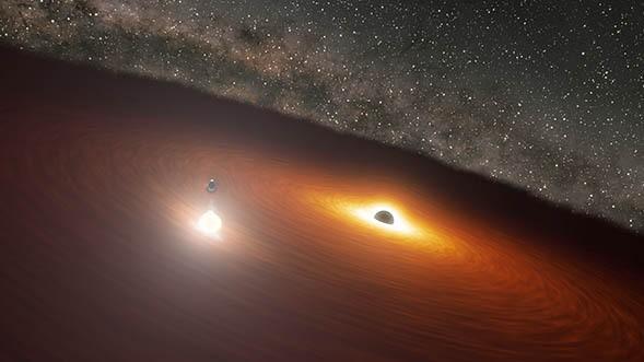 خلف الشمس: رصد رقصة ثنائية بين ثقبين أسودين