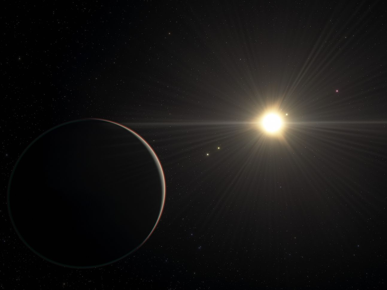نظام كوكبي بعيد تدور فيه 6 كواكب حول نجمه بإيقاع مثالي