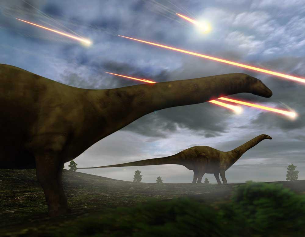 انقراض الديناصورات، النيازك